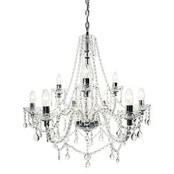 Litecraft - Avignon 9 Light Glass and Chrome Chandelier - Chrome