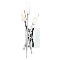 Litecraft - 3 Light Stick Wall Light with Fluted Glass Shades - Chrome