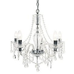 Litecraft - Avignon 5 Light Glass and Chrome Chandelier - Chrome