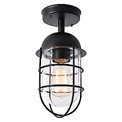 Litecraft - Cari 1 Light Caged Outdoor Lantern - Black