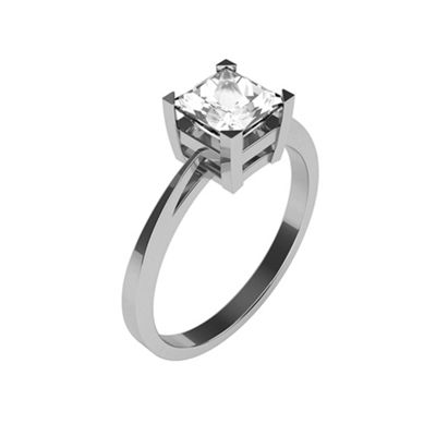 Carity 9ct White 1/2ct Princess Moissanite Engagement Ring - . -