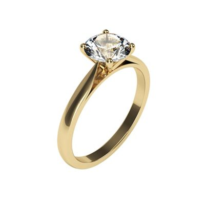 Carity 9ct 0.88ct Round Moissanite Engagement Ring - . -