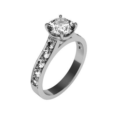 Carity 9ct White 11 stone Moissanite Diamond Ring - . -