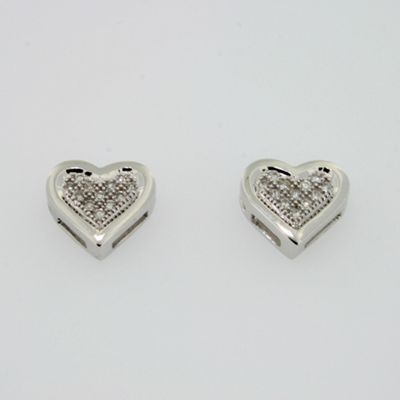 Swesky Glimmering 9ct white gold heart shape ,pave set