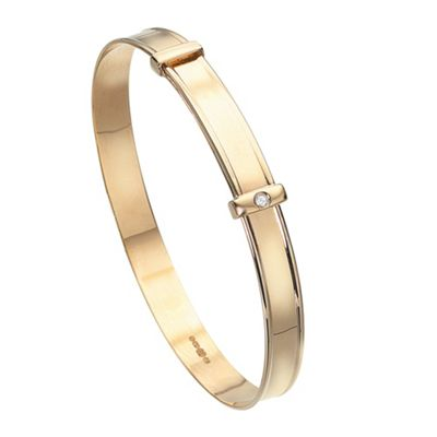 D is for Diamond Girls 9ct yellow gold diamond set bangle product image