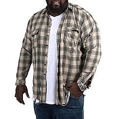 MVP Collections - Big and tall Khaki flannel destruct wash shirt