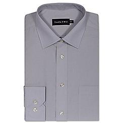 Double Two - Silver cotton rich non-iron shirt