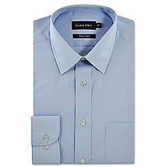 Double Two - Big and tall pale blue classic cotton blend Easycare shirt