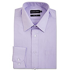 Double Two - Big and tall lilac classic cotton blend Easycare shirt