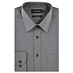 Double Two - Light grey classic cotton blend easycare shirt
