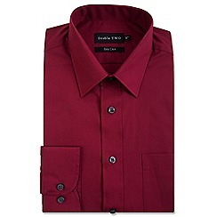 Double Two - Big and tall dark red classic cotton blend Easycare shirt