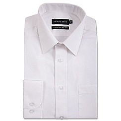 Double Two - Big and tall white cotton rich non-iron shirt