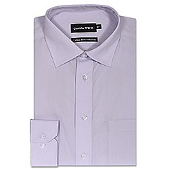 Double Two - Big and tall lilac cotton rich non-iron shirt