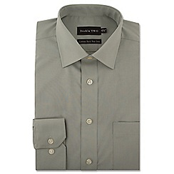 Double Two - Big and tall light green cotton rich non-iron shirt