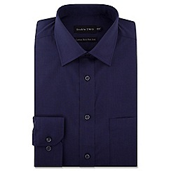 Double Two - Navy cotton rich non-iron shirt
