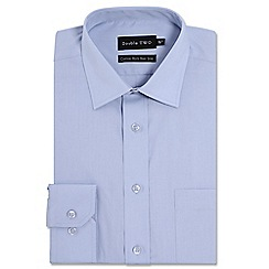 Double Two - Big and tall light blue cotton rich non-iron shirt