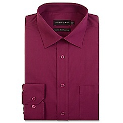 Double Two - Big and tall wine cotton rich non-iron shirt