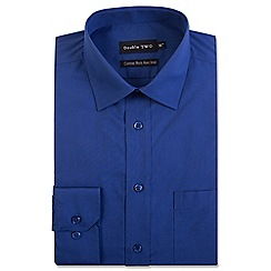 Double Two - Big and tall navy cotton rich non-iron shirt