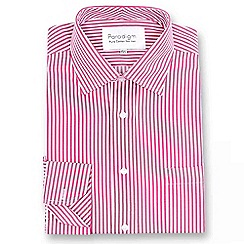 Double Two - Big and tall red striped single cuff pure cotton shirt