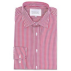 Double Two - Big and tall red checked single cuff pure cotton shirt