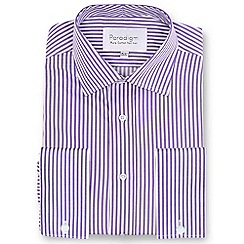 Double Two - Purple striped double cuff 100% cotton shirt