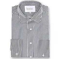 Double Two - Dark grey striped double cuff pure cotton shirt