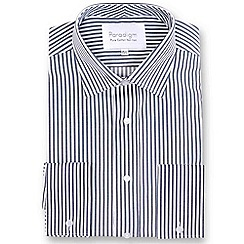 Double Two - Big and tall dark grey striped double cuff pure cotton shirt