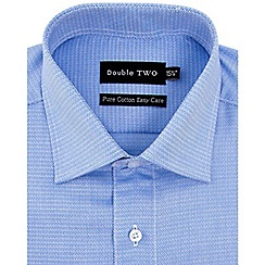 Double Two - Blue diamond weave formal shirt