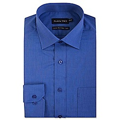 Double Two - Big and tall blue two tone formal shirt