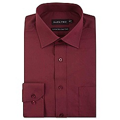 Double Two - Big and tall dark red two tone formal shirt