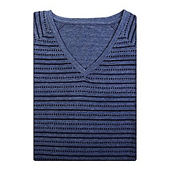 Bar Harbour - Big and tall blue printed stripe v-neck t-shirt