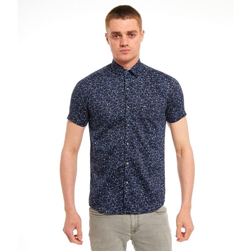 9e507f6e SWADE navy (Blue) printed short sleeve shirt, Men's | £39.99 | Gay Times