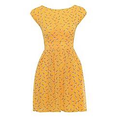 Cutie - Yellow bird print dress