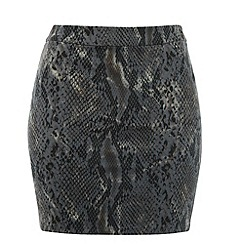 Cutie - Grey snake print mini skirt