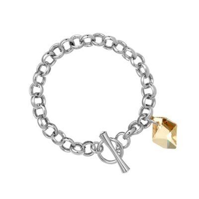 Silver 18ct gold t-bar bracelet