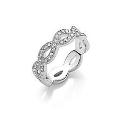Buckley London - Silver finely woven crystal ring