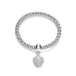 Buckley London - Silver rhodium mesh heart bracelet