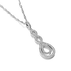 Buckley London - Silver finely woven hoop crystal pendant