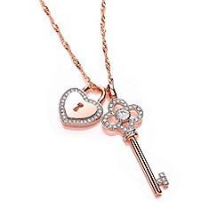 Buckley London - Gold key & heart charm pendant