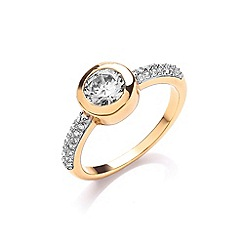 Buckley London - Gold cubic zirconia set ring