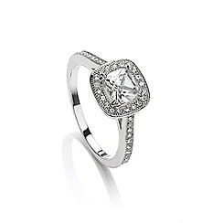 Buckley London - Silver cushion cut diamond ring