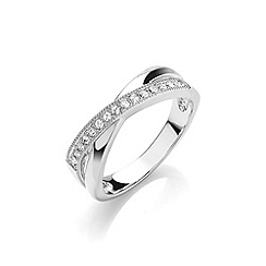 Buckley London - Silver rhodium plated crossover ring