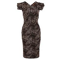Jolie Moi - Brown folded shoulder pencil dress