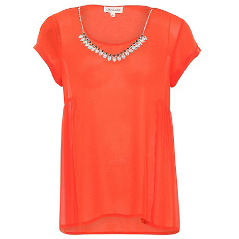 Threads - Orange plus size tee with necklace