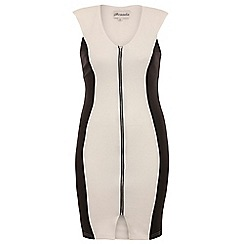 Threads - Off white zip front bodycon dress