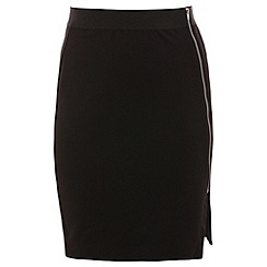 Threads - Black asymmetric zip front skirt