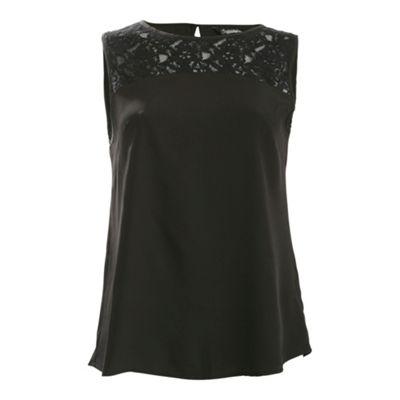 Ayarisa Black aoife embroidered yoke top - . -