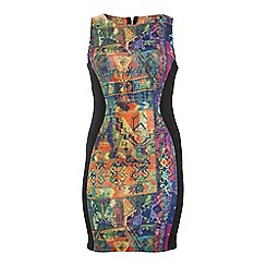 Threads - Multicoloured sweetheart panel bodycon dress