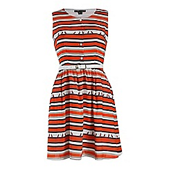 Cutie - Red striped bird print dress