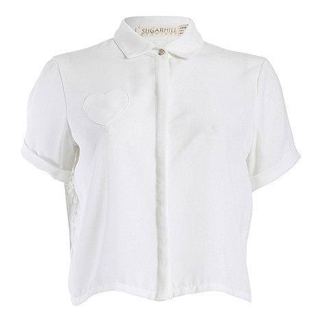 Sugarhill Boutique - Cream abby cropped lace blouse